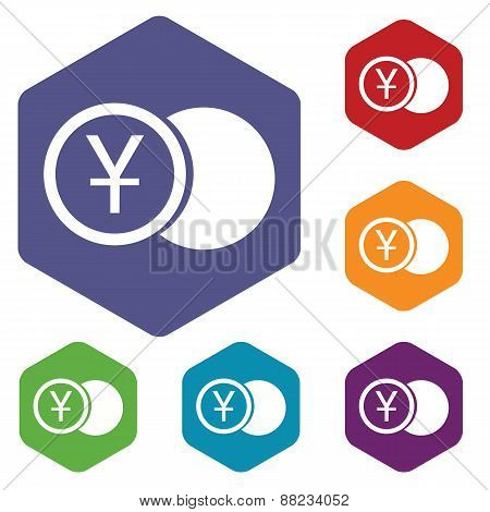 Yen coin rhombus icons
