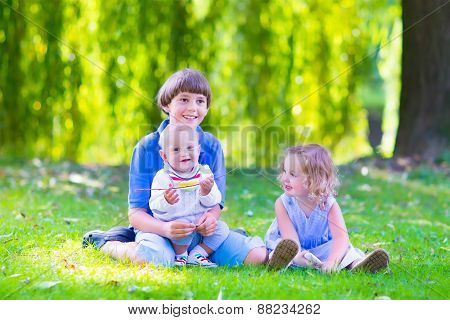 Happy Kids In The Garden