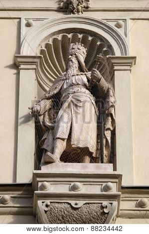 GRAZ, AUSTRIA - JANUARY 10, 2015: Statue of the Austrian monarchs on the portal of City Hall. Graz is the capital city of Styria, Austria on January 10, 2015.