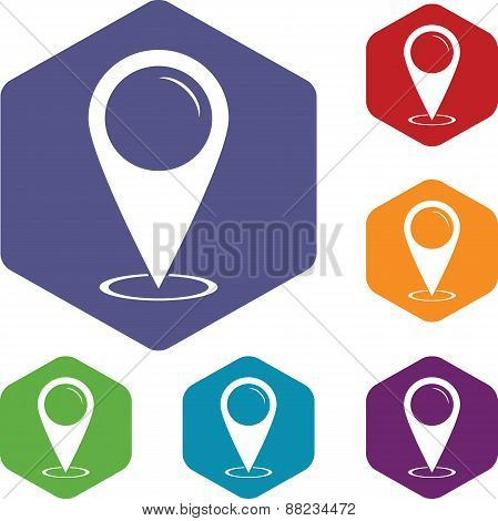 Map marker rhombus icons