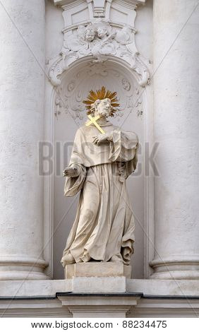 GRAZ, AUSTRIA - JANUARY 10, 2015: Saint Francis of Assisi on the portal of Mariahilf church in Graz, Styria, Austria on January 10, 2015.