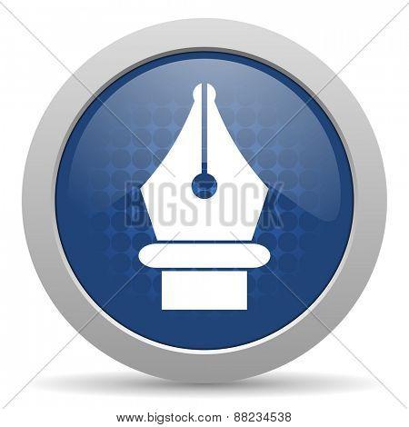 pen blue glossy web icon