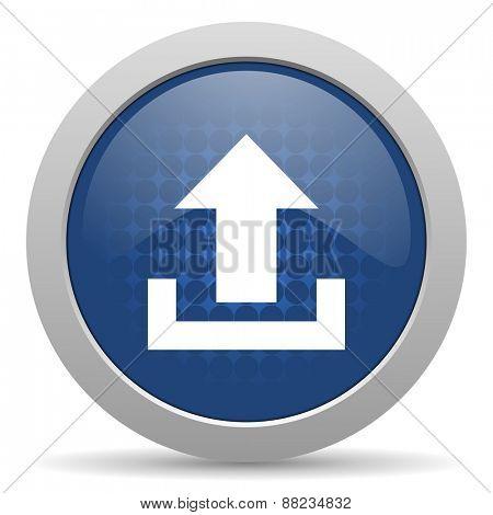 upload blue glossy web icon
