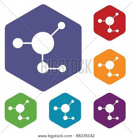Atom rhombus icons