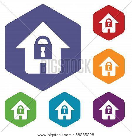 Lock house rhombus icons