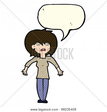 cartoon woman shrugging shoulders with speech bubble