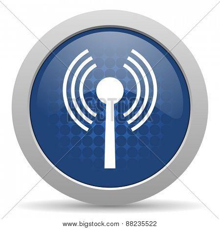 wifi blue glossy web icon