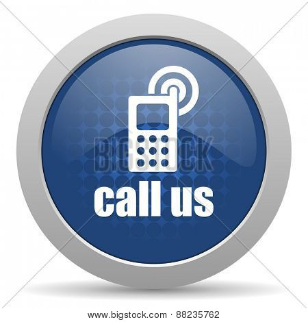call us blue glossy web icon