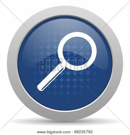 search blue glossy web icon
