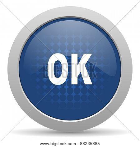ok blue glossy web icon