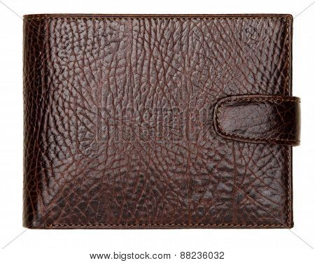 Brown Natural Leather Wallet Isolated On White Background