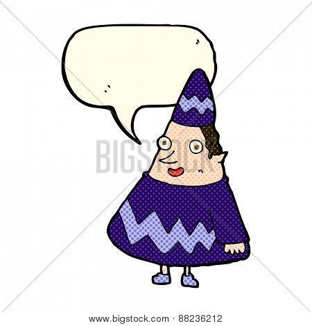 cartoon elf with speech bubble