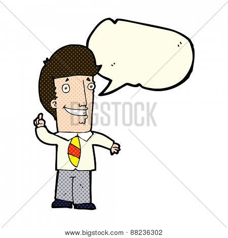 cartoon office man with idea with speech bubble