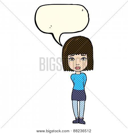 cartoon serious girl with speech bubble