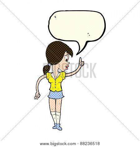 cartoon girl with idea with speech bubble