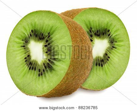 Juicy kiwi sliced to two sections