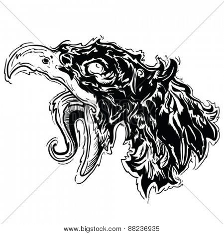 screaming bird black and white cartoon illustration