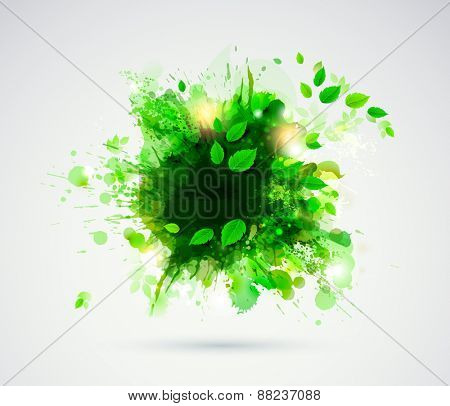 Abstract blob with green leaves.