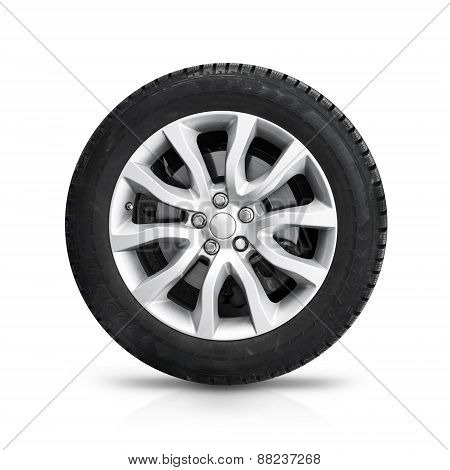 Automotive Wheel On Gray Light Alloy Disc Isolated