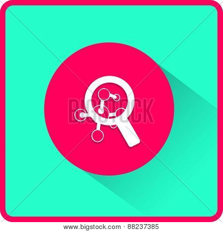 Magnifying glass and molecule. Flat icon. Vector illustration