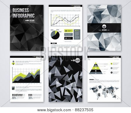Set of Flyer with geometric Triangular Black Background.