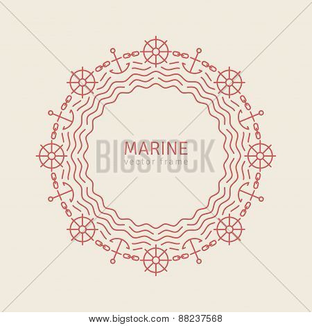 Abstract Line Ornate Frame with Anchors Waves Wheel and Chain