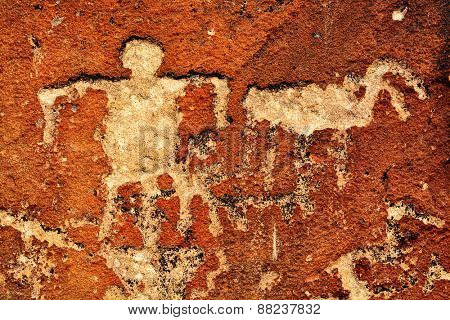 Detail of ancient Native American Indian Petroglyphs
