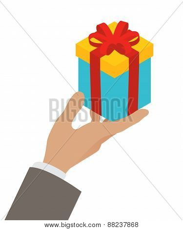 Small gift box in a mans hand