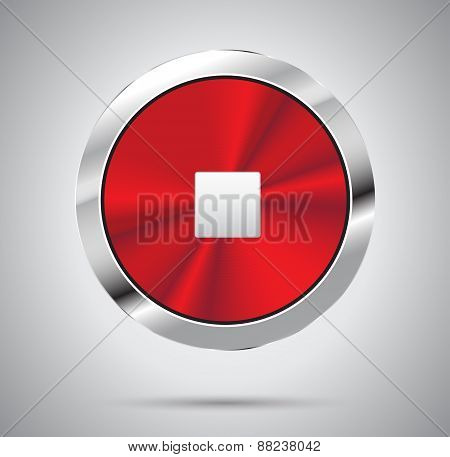Shiny red metal Stop Button, round shape