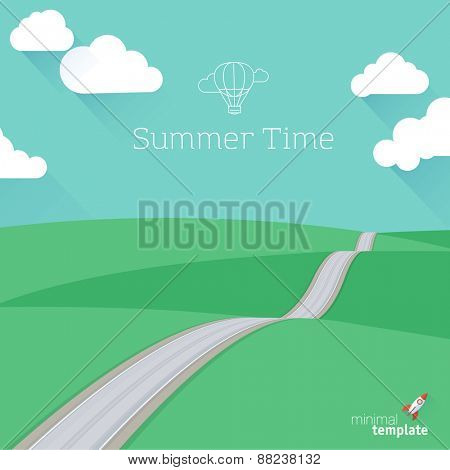 Flat design summer landscape. Vector template