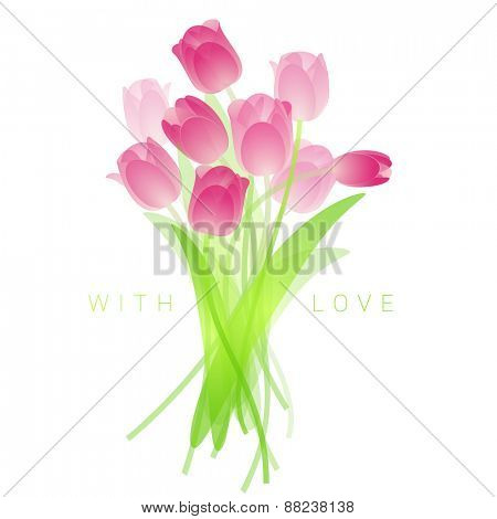 Spring fresh bouquet of tulips. Vector.