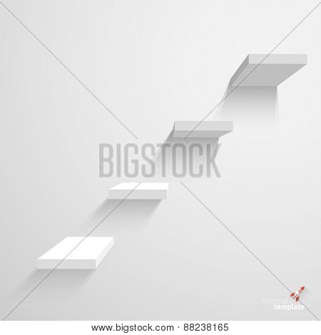 White stairs on white background. Infographics vector template.