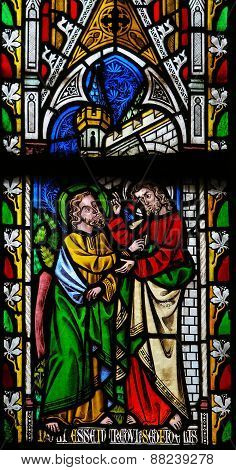 Jesus To Saint Thomas: Stop Doubting, But Believe - Stained Glass