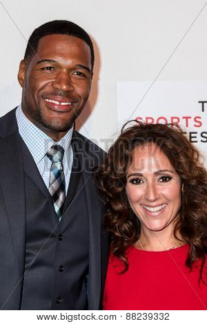 NEW YORK, NY - APRIL 16: Constance Schwartz (R), Michael Strahan (L) attend the premiere of 'Play It Forward' during the 2015 Tribeca Film Festival on April 16, 2015 in New York City.