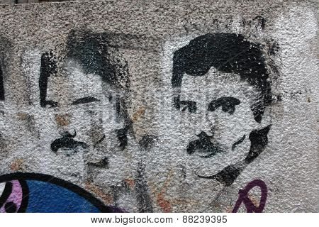PRAGUE, CZECH REPUBLIC - DECEMBER 20, 2012: British singer Freddie Mercury, the lead vocalist of the rock band Queen, depicted in a street graffiti in Prague, Czech Republic.