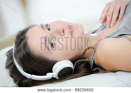 Lady wearing earphones