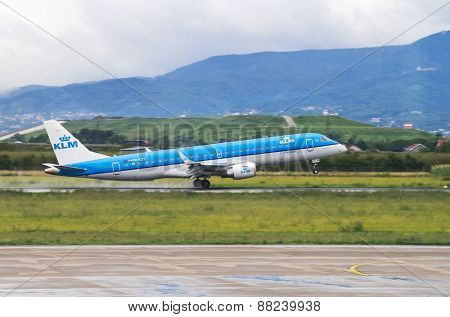 ZAGREB, CROATIA - JULY 12: KLM Embraer ERJ-190 on Pleso airport in Zagreb, Croatia. KLM is the flag carrier airline of The Netherlands with worldwide operations.