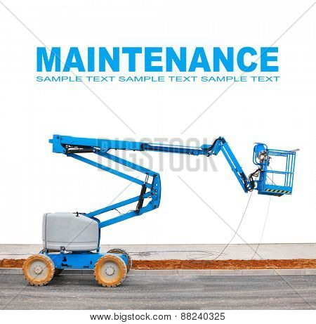 Self propelled hydraulic lift (platform) with space for your text.