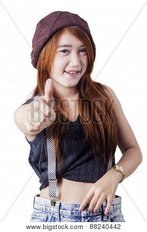 Girl With Casual Clothes Show Thumb Up