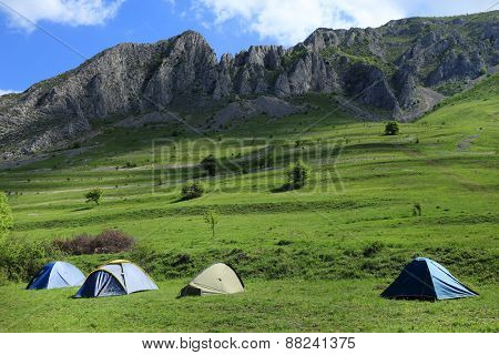 Camping at Piatra Secuiului Mountains, Transylvania, Romania, Europe