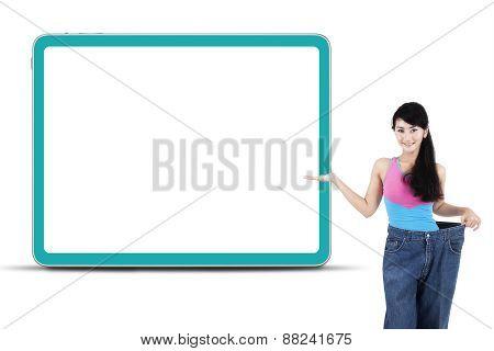 Slim Woman Showing Empty Board