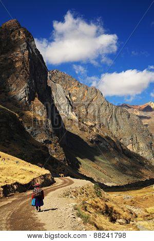 Alpine valley in Cordiliera Huayhuash, Peru, South America