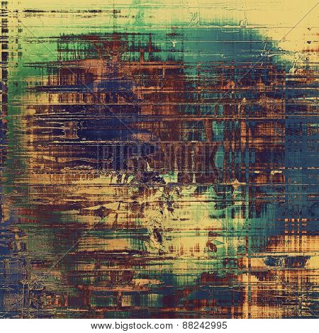 Grunge texture, distressed background. With different color patterns: yellow (beige); brown; green; blue