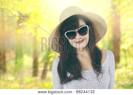 Woman With Hat At Autumn Forest