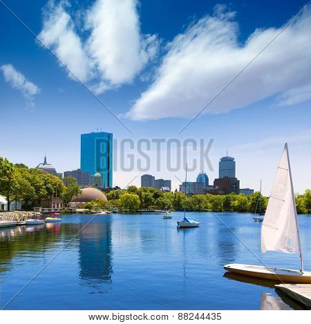 Boston sailboats of Charles River at The Esplanade in Massachusetts USA