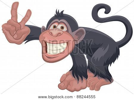 Monkey showing two fingers Victory gesture. Greeting