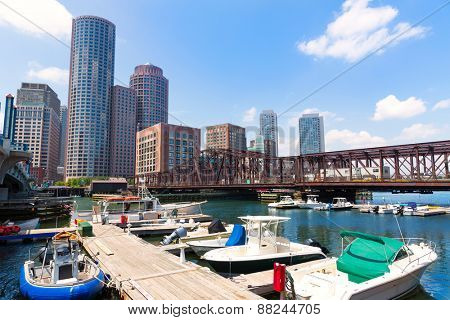 Boston Massachusetts skyline from Fan Pier in USA