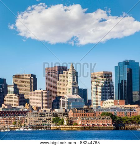 Boston skyline with river in sunlight at Massachusetts USA