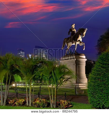 Boston Common George Washington monument sunset at Massachusetts USA