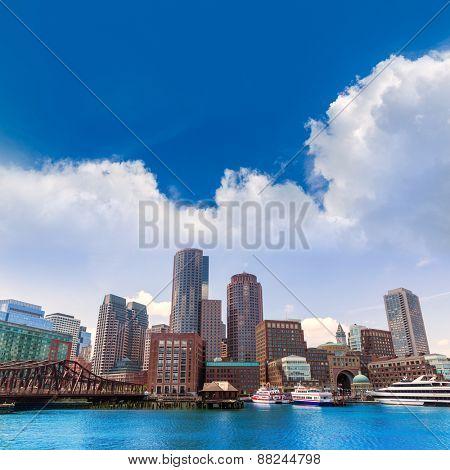 Boston Massachusetts skyline from Fan Pier in USA